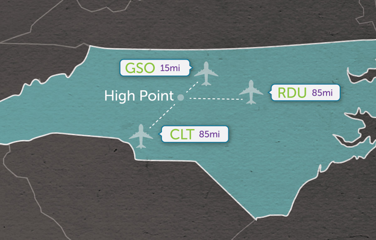 Airports In Nc Map.High Point Market Airport Information